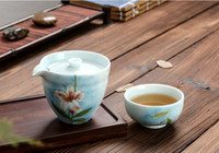 Wholesale Hand painted quot Lily quot quot Peach blossom quot one person a cup of travel office portable cup Quik single cup tea set