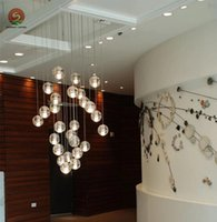 big modern kitchen - Extra long led chandelier stair light hotel big Novelty G4 led pendant lights stairwell lighting Crystal Ball led strip lustres de cristal