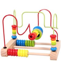 Wholesale Best Quality and Hot Sale Children Kids Baby Colorful Wooden Around Beads Educational Toy