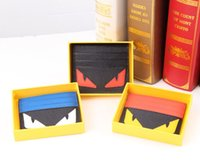 Wholesale Devil small monster eyes leather card set card package Korean fashion tide students kraft card clip ultra thin card package