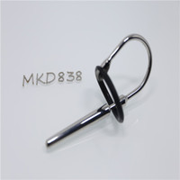 Wholesale Adjustable Length Cum Through Medium Penis Plug Urethral Sound Device with Penis Head Ring Adult metal sex toys