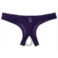 Cheap 2016 Women Mesh Transparent Beads G-spot Stimulate Panties Women Briefs Underwear Open Crotch Sexy Panties Control Underpanties