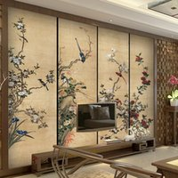 Wholesale Custom TV background wall paper background wallpaper bedroom large ink flower and bird frescos Chinese retro style