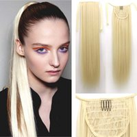 Wholesale inch Long Straight Fake Hair Ponytail Hair Piece Drawstring Ribbon Hairpiece Clip In Pony Tail Hair Extensions Multic