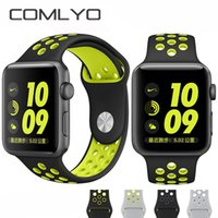 Wholesale NEW With holes sport Silicone Replacement Sports Bands for Apple Watch iwatch bands mm mm Wristwatch Strap Band built in adapter