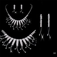 african lady - Necklace Earrings Rhinestone Big Crystal Bridal Accessories Bridesmaid Lady Women s Prom Party Wedding Jewelry Sets