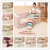 Wholesale Mermaid Blanket Kids mermaid tail blankets x70 cm nap sleeping bag stripes clover sofa living room blanket DHL