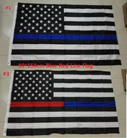 Wholesale Fedex DHL Free Blue Line USA Flags By Foot Thin Red Line US Flag Black White And Blue American Flag With Brass Grommets style B977