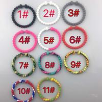 balance rubber bracelet - Newest Silicone Bracelets Fit Life Dumbbell Bracelet Rubber Beads Energy balance Bracelet Health Cuff Wristband S L Colors