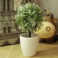 artificial potted topiary - DIY Green Artificial Topiary Tree Ball Plants In Pot Fresh Garden Home Office Decoration
