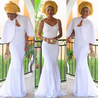african lady pictures - 2017 Black Girl White Long Evening Dresses with Jacket Beaded African Lady Sexy Mermaid Formal Evening Party Gowns with Spaghetti Straps