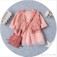 Girl baby waistcoat - Baby Girls Outfits Tassels Waistcoat Tulle Dress Handbag Causal Suits Girls Clothes Kid Clothes Sets Pink K7729