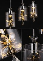 Wholesale Bar Pendant lighting Restaurant lights E27 W warm lights Transparent amber crystal Stainless steel plate Led lights