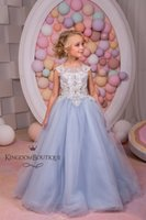 beautiful girl photos - Silver Blue Tulle Flower Girl Dress Beautiful Pageant Gowns for Kids Wedding Party Dresses First Commuinon Dresses