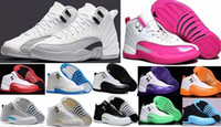achat en gros de bottes en latex-Cheap Retro 12 XII Basketball Shoes Femmes Hommes 12s TAXI Playoff ovo Blanc Gris Noir Gym barons cerise RED Flu Game Sneakers Boots