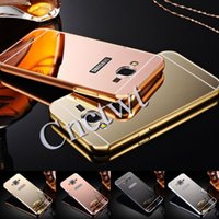bag mirror frames - for iphone s plus samsung galaxy s7 s7edge s6 s6 edge plus Aluminum metal bumper frame mirror case Back cover with opp bag