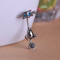 Wholesale 2015 Newest Design Cat Navel Rings Belly Button Piercing Jewelry Gun Black Plated L Surgical Steel Pircing G mm Barbell