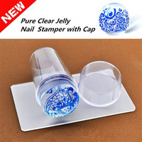 Wholesale 2016 Unique New Design Pure Clear Jelly Silicone Nail Art Stamper Scraper with Cap Transparent cm Nail Stamp Stamping Tools