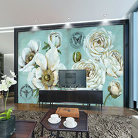 Wholesale photo d wallpaper Home improvement Wall Mural Livingroom TV Backdrop Wallpaper Painting Flowers Retro Entrance Bedroom wallpapers
