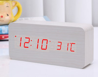 Cajas de madera relojes España-Control acústico del reloj del estilo de la nueva llegada LED que detecta el reloj LED con el envío libre de la caja de papel de Batttery Envío libre