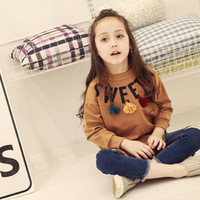 beige cardigan sweater - New Korean Spring Girls Clothes Fashion Long T shirt printing tassels Sweater fleeces Tops Children kids Clothing Girl wear Lovekiss A41