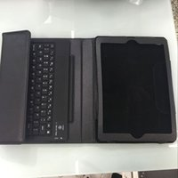 BOHAI Caja de cuero sin hilos del cuero del teclado de Bluetooth de la venta caliente para el aire de Ipad, Bluetooth V3.0 con el caso elegante de cuero de la cubierta del sostenedor del soporte, negro
