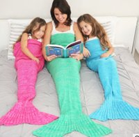 Wholesale Adult Mermaid Tail Knit Blanket Sleeping Bags Cocoon Mattress Handmade Living Room use X95cm