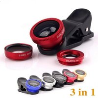 Wholesale Clip on Fish Eye lens in set universal Fish eye Wide Angle Macro camera lens kit VS fish eye lens for iphone plus samsung s7