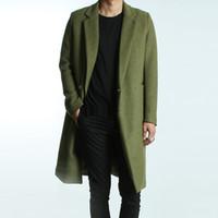 american overcoat - Autumn winter College style street lapel woolen jacket coat men Long section casual slim green Wool overcoat men M XL