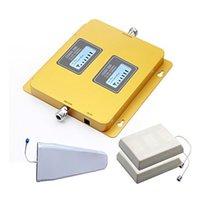 al por mayor impulsores de células para el hogar-Boostel alta ganancia 75dB teléfono móvil de señal de amplificador / amplificador de repetidor kit completo GSM / 3G 850MHz WCDMA 2100MHz para el hogar o la oficina