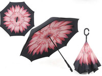 Wholesale Free DHL Special Design Reverse Folding Inverted Umbrellas With C Handle Reverse Car Umbrella C shape Handle Sunny Umbrella IUHF01
