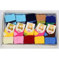 Wholesale 10 Pairs baby socks all cotton baby T winter and autumn newborn Terry socks gift Gift boxes stripe and pour color