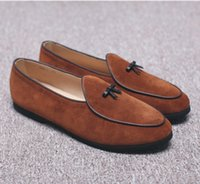 belgian chocolates - New Fashion Mens Suede Leather Slippers Loafers Slip on Belgian Dress Shoes Men s Flats With Bow Tie Black Brown Casual Shoes