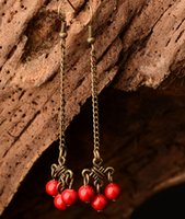 Wholesale Handwork Original Chinese knot Chinese Style Retro Hot Selling Drop Earrings Dangle Chandelier Red Earrings Pendientes For Women DIY Jewelry