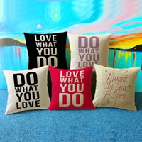 Wholesale Newly Letters Words Pattern Cushion Cover Linen Throw Pillow Cover Decorative Pillow Case Sofa Bed Car Office Use