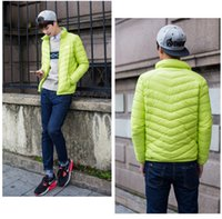Wholesale news Mens Downs Jackets Ultra light Sport Whites Duck Down Coats Stand Collar Slim Thin Portable Outerwear Autumn Winter High Quality