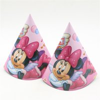 baby shower designs - birthday party decorative pink minnie mouse design paper hat tricone event party supplies paper cap baby shower favors