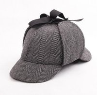 Wholesale Same Style of Sherlock Holmes Cap Striped Wool Deerstalker Hat Black Coffee Red Unisex