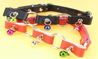 Wholesale Fashionable PU Leather Pet Collar Three Chrome Plated Alloy Rings Connected Three Bells Puppy Cat Collar to Countries