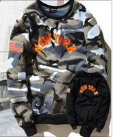 american flag sweater men - Men s autumn and winter European and American street tide brand camouflage flag sweater men s velvet cotton sweater