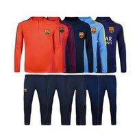 Wholesale Top quality kits Barcelona Training MESSI SUAREZ NEYMAR Football Training suit long sleeve soccer Soccer tracksuit ET