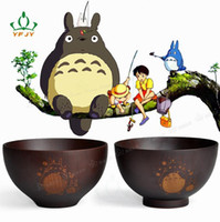 Wholesale 11 cm Natural Hand carved Wood Bowl My Neighbor Totoro Japanese Soup Kitchen Tool For Children