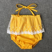 Wholesale Baby Girls Tulle Lace Rompers with Strap Summer Baby Boutique Clothing Euro America Infant Toddler Girls One piece Jumpsuits
