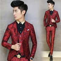 Men Pant Suit Lapel Neck 2017 Ceket Mens Purple Blazers Homens Flower Floral Print Royal Robe De Mariage Costume Homme Cappotto Club Outfits Prom Dresses