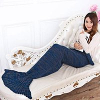 Wholesale Knitted Mermaid Tail Blanket Adult Kids Knit Blanket Swaddle TV Sofa Blanket Winter Boy And Girls Sleeping Bag Swaddle Blanket MC0351