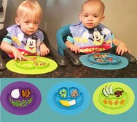 Wholesale One piece Silicone Mat Baby Kids Suction Table Food Tray Placemat plate Lovely