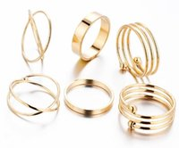 Wholesale Newest gold plated personality retro sets combination of joint ring foot ring jewelry tail ring