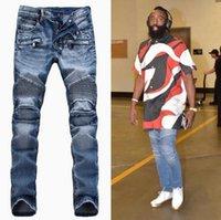 Wholesale New Arrivals Balmain Jeans For Men Biker Jeans For Men Casual Washed Denim Splice Frayed Jeans Motorcycle Pants Skinny Jeans