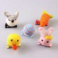 baby dee - Assorted Patterns Solid Cute Felt Animal Rabbit Fox Bear Monkey Dee Baby Girls Hairpins Fashion Girls Hairclips