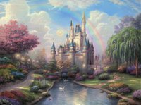 Wholesale The Fairy Tale Castle Oil Painting High Quality Print On Canvas Thomas Kinkade Cinderella A new day